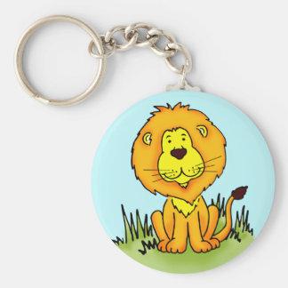 Lion keychain basic round button key ring