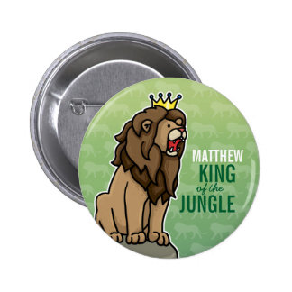 Lion King of the Jungle, Add Child's Name 6 Cm Round Badge