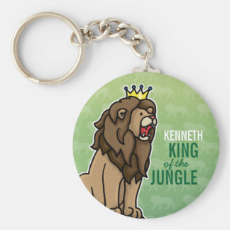 Lion King of the Jungle, Add Child's Name Basic Round Button Key Ring