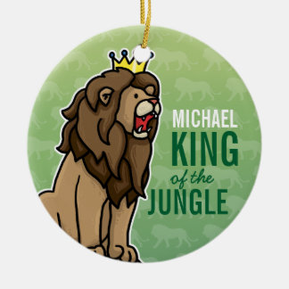 Lion King of the Jungle, Add Child's Name Christmas Ornament