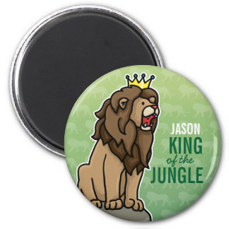 Lion King of the Jungle, Add Child's Name 6 Cm Round Magnet