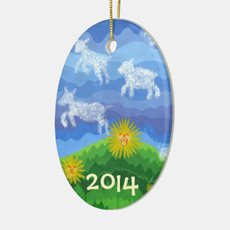 Lion & Lamb - Baby's First Christmas Double-Sided Oval Ceramic Christmas Ornament