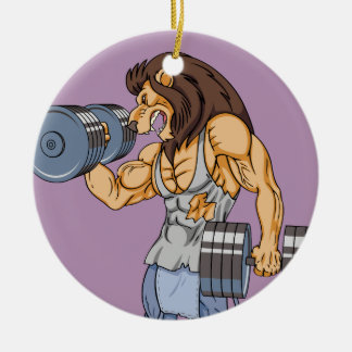lion lifter round ceramic decoration