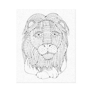Lion Line Art Design Canvas Print