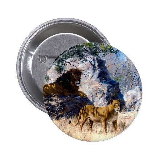 Lion Lioness Nature Painting Pins
