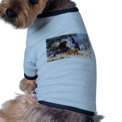 Lion Lioness Nature Painting Doggie T-shirt