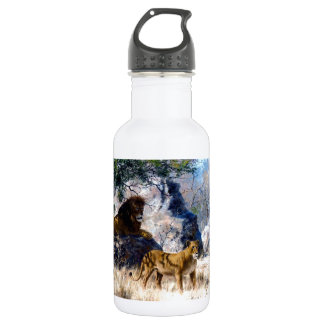 Lion Lioness Nature Painting 532 Ml Water Bottle