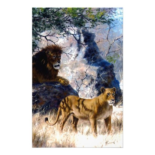 Lion Lioness Nature Painting Stationery Design