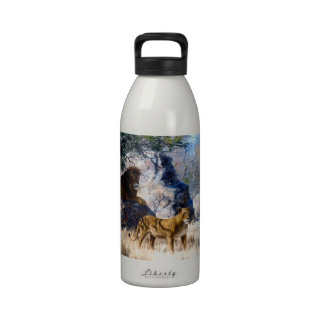 Lion Lioness Nature Painting Water Bottle