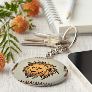 Lion made of rusty metal basic round button keychain