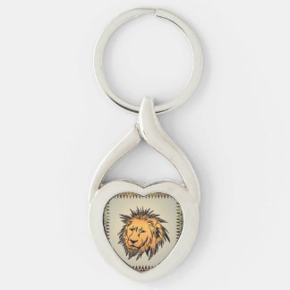 Lion made of rusty metal Silver-Colored Heart-Shaped metal keychain
