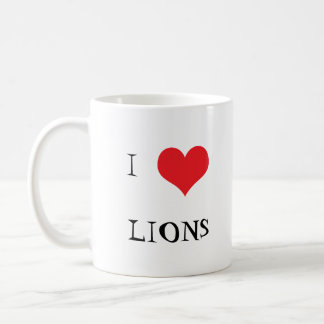 Lion male I love heart lions photo coffee mug