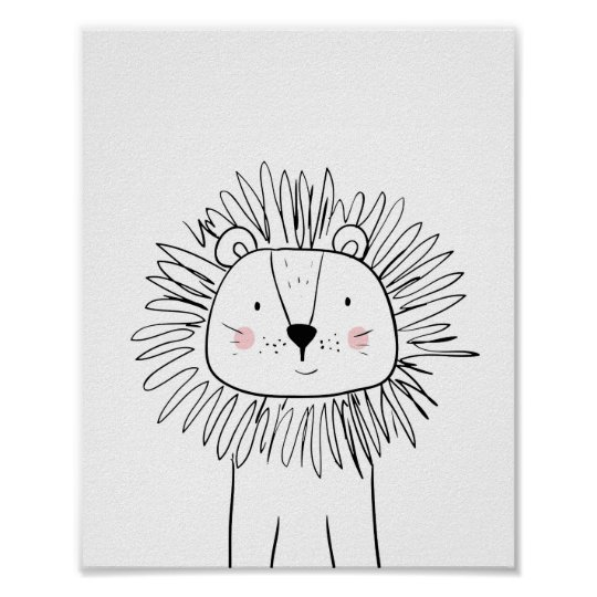 Lion Nursery Print Black and white modern zoo