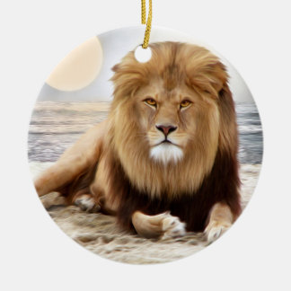 Lion Ocean Photo Paint Christmas Ornament
