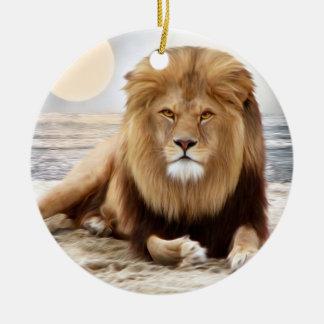 Lion Ocean Photo Paint Round Ceramic Decoration