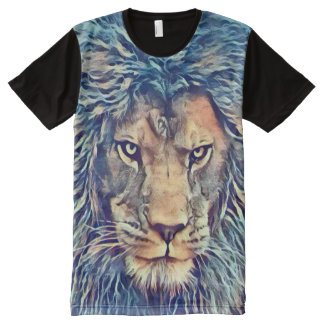 Lion of God Oil Painting Graphic Tee All-Over Print T-Shirt