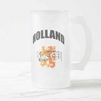 Lion of Holland Soccer Gifts 16 Oz Frosted Glass Beer Mug