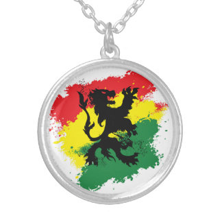 Lion of Judah Necklace: Red yellow and green Lion Silver Plated Necklace
