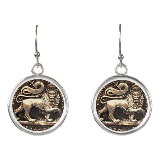 Lion of Judah Rasta Drop Earrings Silver Plated