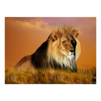 Lion of South Africa fractal art Poster