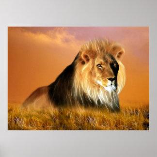 Lion of South Africa fractal art Poster