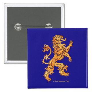 Lion on blue 15 cm square badge