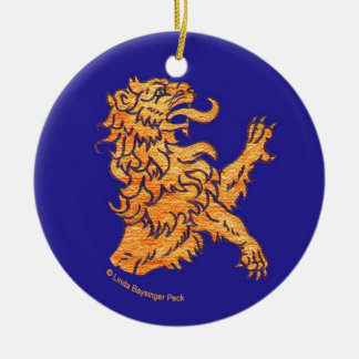 Lion on Blue Christmas Ornament