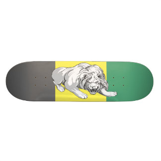 Lion on Color Stained Dek  (Jamaican Colors) Skateboards