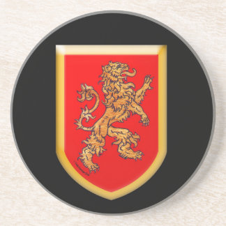 Lion on Red Shield Coaster