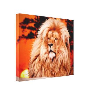 Lion Orange African Sky Photo Paint Canvas Print