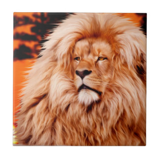 Lion Orange African Sky Photo Paint Small Square Tile