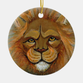 Lion painting original art judge legal law lawyers christmas ornament