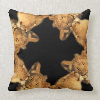 Lion Pair Cotton Throw-Pillow