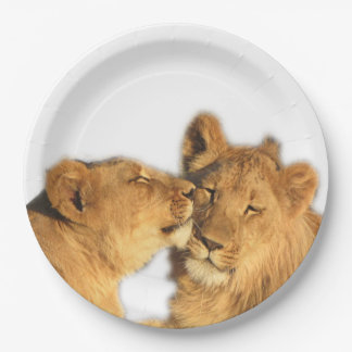 Lion Pair Paper Plates (7 or 9 inches diameter) 9 Inch Paper Plate