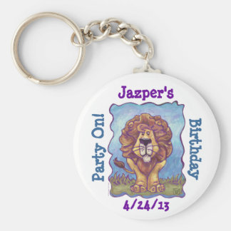Lion Party Center Basic Round Button Key Ring