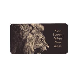 lion pencil art lion roar black and white address label