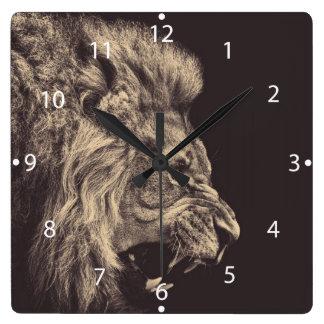 lion pencil art lion roar black and white square wall clock