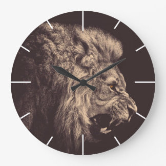 lion pencil art lion roar black and white wall clock