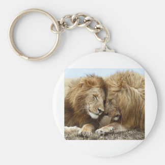 lion pic basic round button key ring