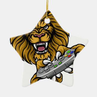 Lion Player Gamer Mascot Christmas Ornament