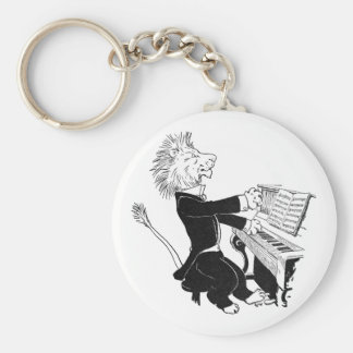 Lion Playing Piano Antique Louis Wain Drawing Basic Round Button Key Ring