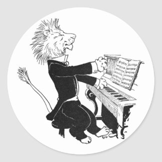 Lion Playing Piano Antique Louis Wain Drawing Classic Round Sticker