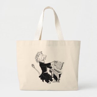 Lion Playing Piano Antique Louis Wain Drawing Large Tote Bag