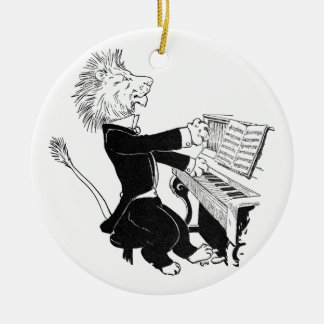 Lion Playing Piano Antique Louis Wain Drawing Round Ceramic Decoration