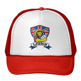Lion playing rugby with ball Union Jack shield Trucker Hats