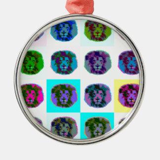 Lion Pop Art Silver-Colored Round Decoration