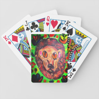 Lion portrait art bicycle playing cards