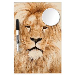 LION PORTRAIT DRY ERASE BOARD WITH MIRROR