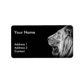 Lion Portrait in Black and White Label