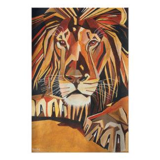 Lion Portrait in Cubist Style Photographic Print
